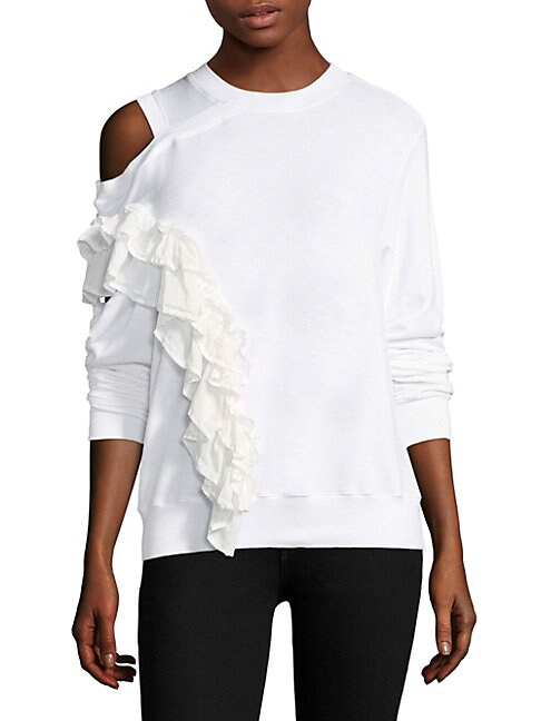 CLU | Ruffle Cold-Shoulder Pullover | Goxip