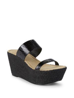 Elizabeth And James Boca Snake Strap Wedge Sandals