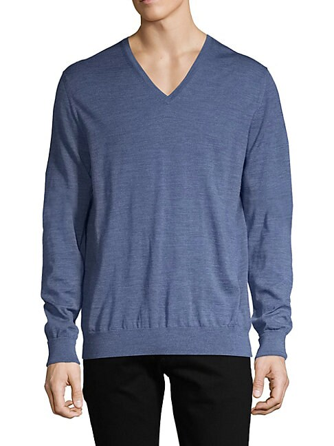 ALFRED DUNHILL V-Neck Wool Sweater in Blue