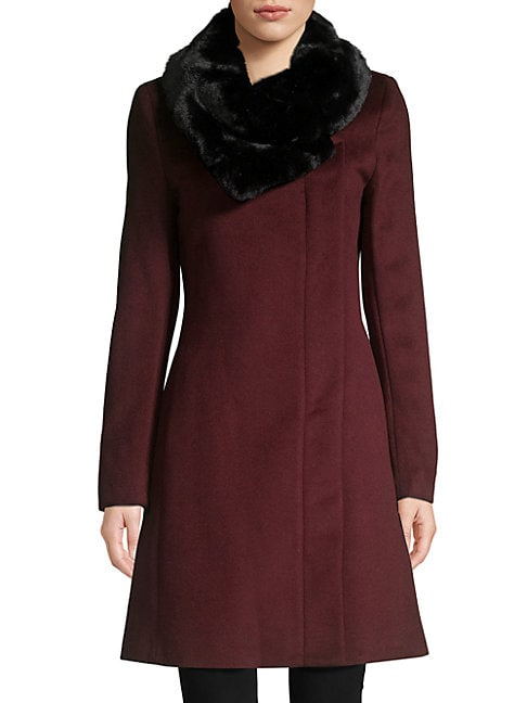 DONNA KARAN | Faux Fur-Collar Wool-Blend Coat | Goxip