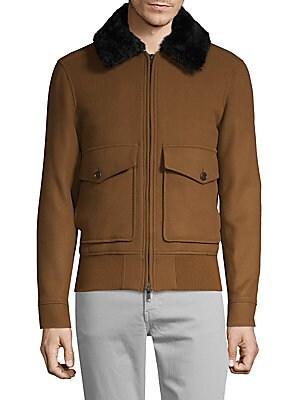 J. Lindeberg - Shearling-Collar Wool-Blend Bomber Jacket 92ad0ac5a3b5