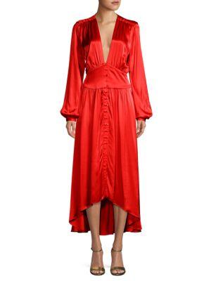 Ronny Kobo Bishop-Sleeve High-Low Midi Dress