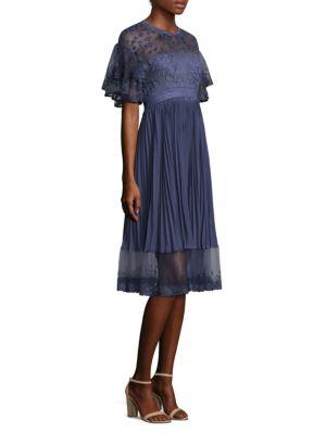 Three Floor City Scape Pleat Illusion Dress