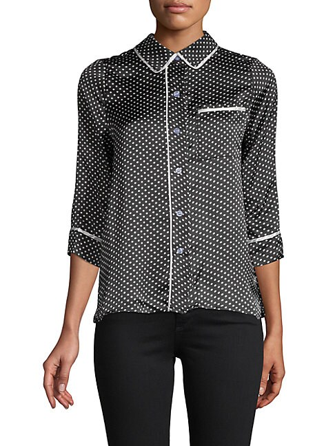 LUCCA COUTURE Pisa Printed Three-Quarter Sleeve Top in Black
