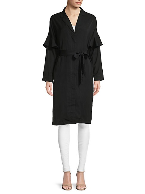 LUCCA COUTURE Miriam Ruffle-Sleeve Shirtdress in Ebony
