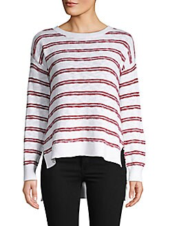 8bd327dfb93a QUICK VIEW. Pure Navy. Striped Knit High-Low Cotton Slub Pullover