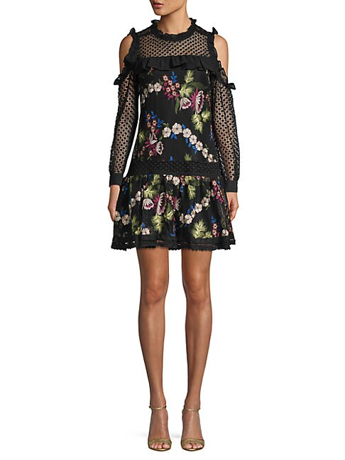 ALLISON NEW YORK   Embroidered Floral Shift Dress   Goxip