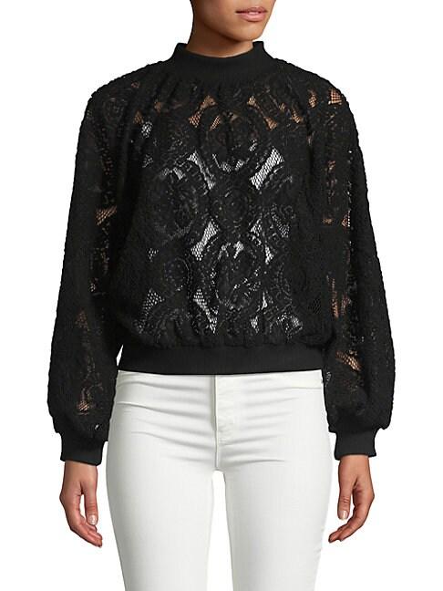 ALLISON NEW YORK Velvet Lace Sweatshirt in Black