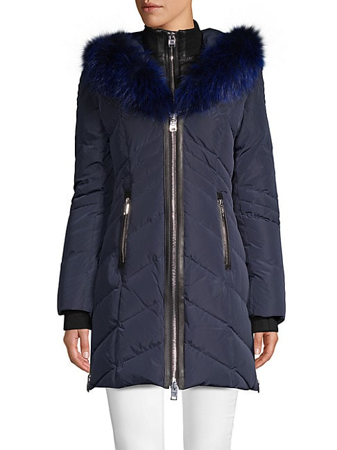 Solden Fox Fur-Trimmed Down Jacket