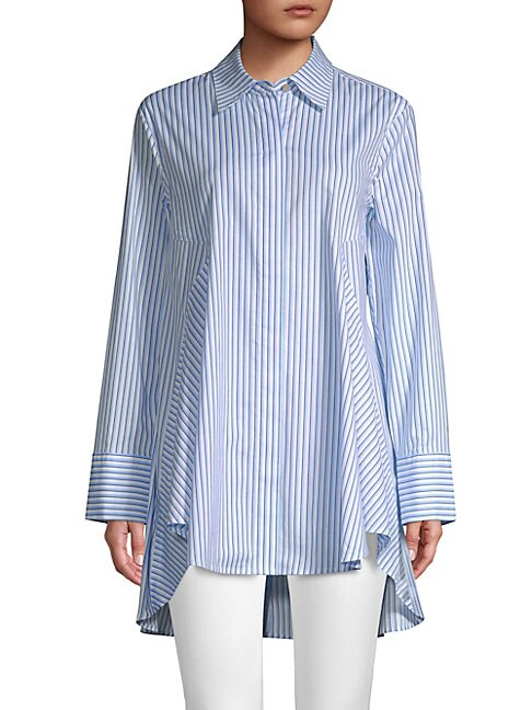 DONNA KARAN | Striped High-Low Button-Down Shirt | Goxip
