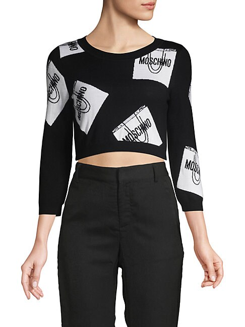 Graphic Cropped Wool Sweater