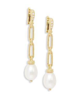 JUDITH RIPKA Linen Goldplated Sterling Silver 10-13Mm Oval Freshwater Pearl & White Topaz Link Drop Earrings