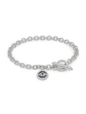 JUDITH RIPKA La Petite Sterling Silver, Blue & Black Sapphire, White Topaz & Crystal Charm Bracelet