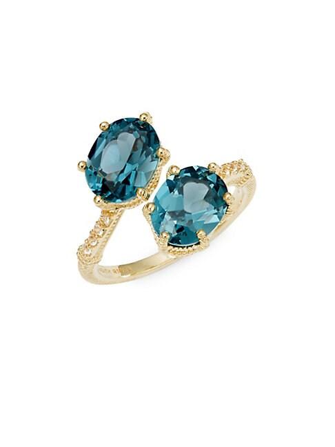 JUDITH RIPKA Flora 14K Goldplated Blue Crystal & White Topaz Wrap Ring