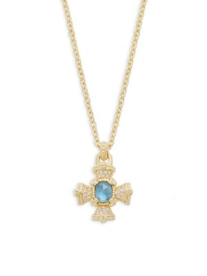 JUDITH RIPKA London Blue Spinel, Mother-Of-Pearl & White Topaz Pendant Necklace in Silver