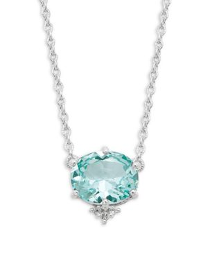 JUDITH RIPKA Floral Sterling Silver & White Topaz Pendant Necklace