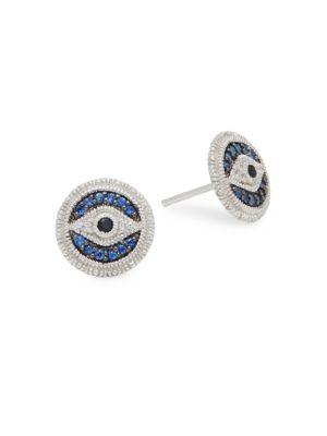 JUDITH RIPKA La Petite Black Sapphire, Blue Sapphire, & White Topaz Stud Earrings in Silver