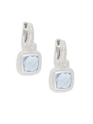 JUDITH RIPKA Natalie Sterling Silver Blue Crystal & White Topaz Square Drop Earrings