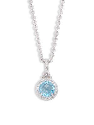 JUDITH RIPKA La Petite Sterling Silver, Blue & White Topaz Necklace