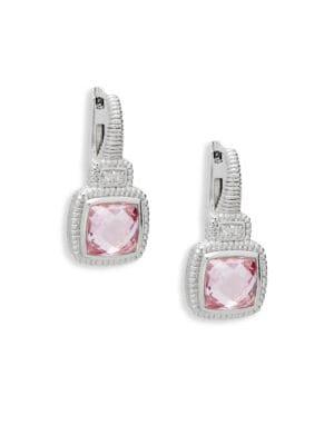 JUDITH RIPKA Natalie Sterling Silver, Pink Crystal & White Topaz Cushion Drop Earrings
