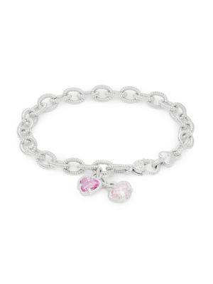 JUDITH RIPKA La Petite Sterling Silver & Pink Crystal Charm Bracelet
