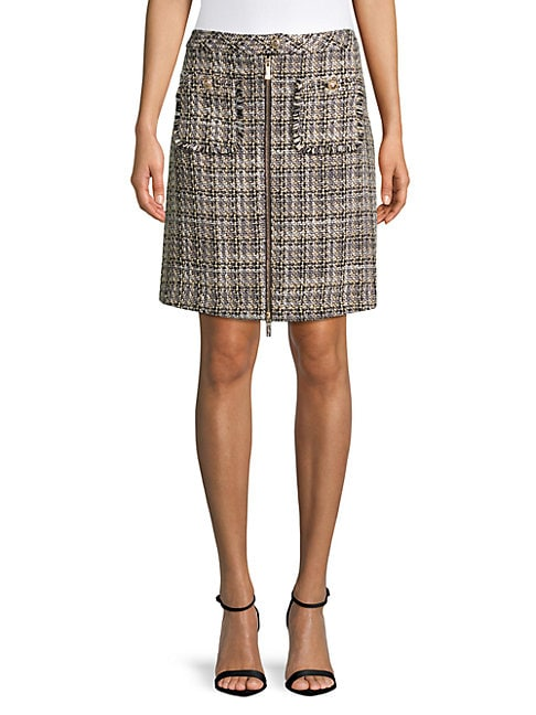 Zippered Tweed Skirt