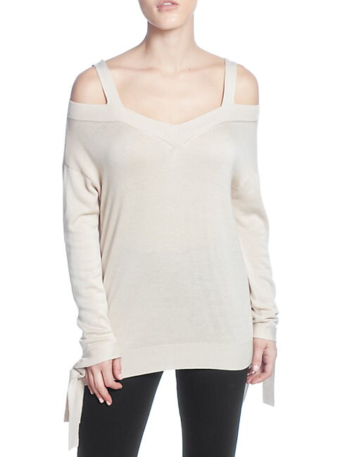 CATHERINE CATHERINE MALANDRINO | Tie-Accented Cold-Shoulder Sweater | Goxip