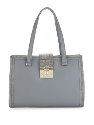 LOVE MOSCHINO Croco Embossed Tote Bag