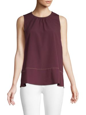 Ellen Tracy Gathered Crewneck Top