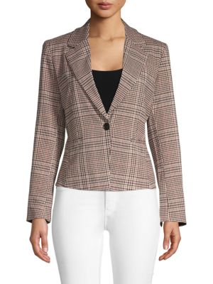 Ellen Tracy Retro Plaid Fitted Blazer