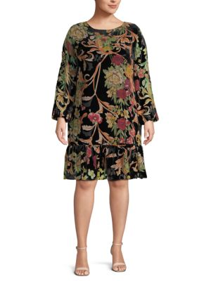 Abs By Allen Schwartz Plus Bohemian Floral Shift Dress