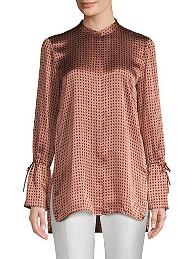 277e06b8505af Lafayette 148 New York Desra Silk High-Low Print Blouse ...