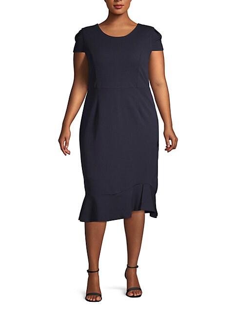 ABS | Plus Flounce Midi Dress | Goxip