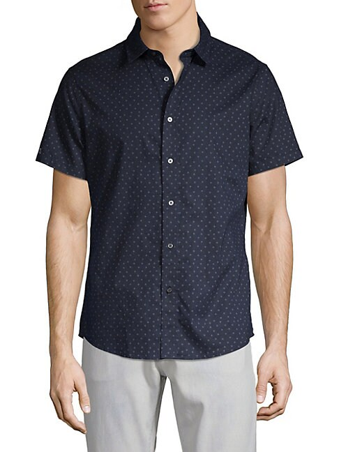 SLATE & STONE Short-Sleeve Star Button-Down Shirt in Navy Star