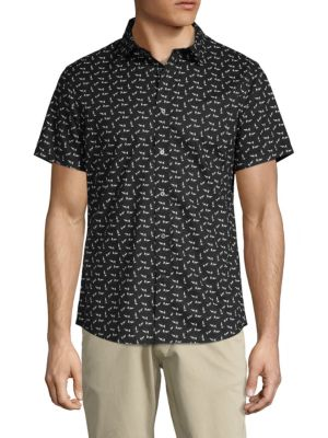 SLATE & STONE Printed Short-Sleeve Button-Down Shirt in Black White
