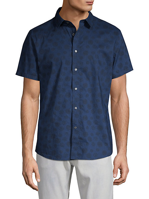 SLATE & STONE Printed Short-Sleeve Button-Down Shirt in Dark Navy