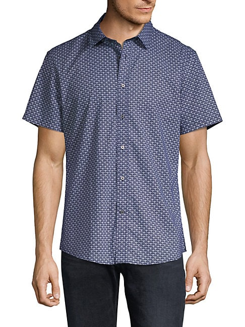 SLATE & STONE Printed Short-Sleeve Button-Down Shirt in Navy