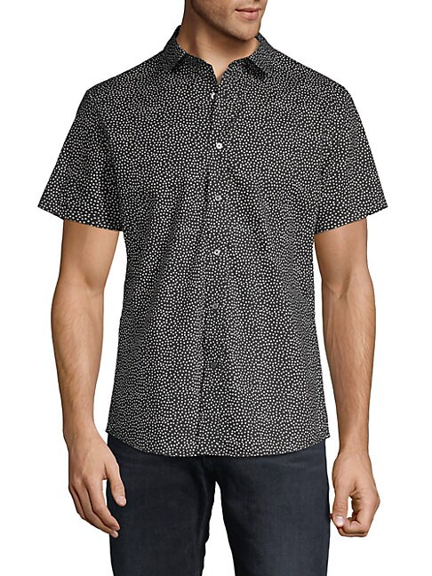 SLATE & STONE Dot Print Short-Sleeve Button-Down Shirt in Black