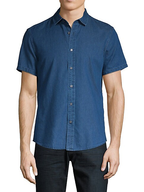 SLATE & STONE Short-Sleeve Button-Down Shirt in Blue Inigo