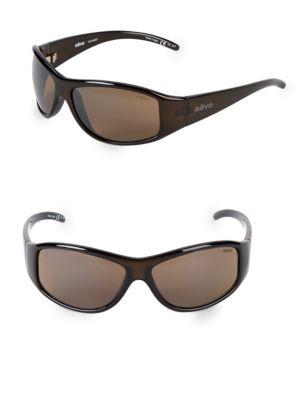 REVO 64Mm Wrap Sunglasses in Brown Horn