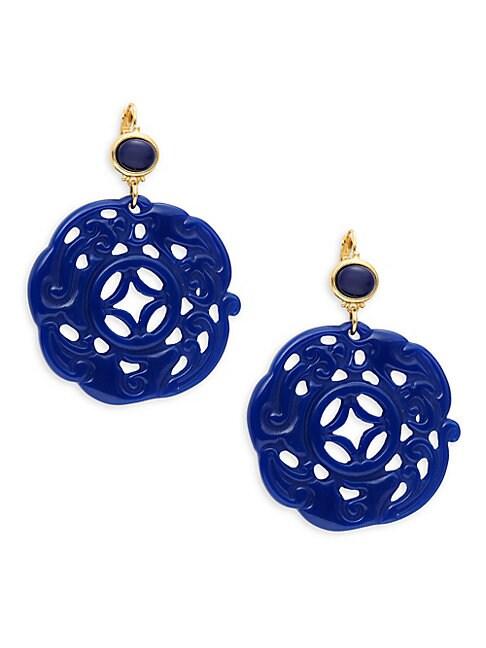 Lapis Carved Drop Earrings