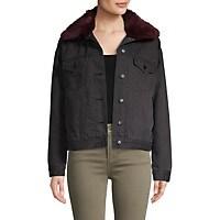 Jak&Rae Womens Faux Fur-Trim Denim Jacket