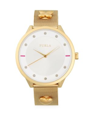 Furla  Charm and Pave Analog Mesh Bracelet Watch