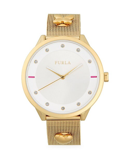 FURLA | Charm and Pave Analog Mesh Bracelet Watch | Goxip