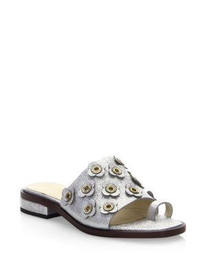 Cole Haan Sandals Carly Silver Floral Sandals