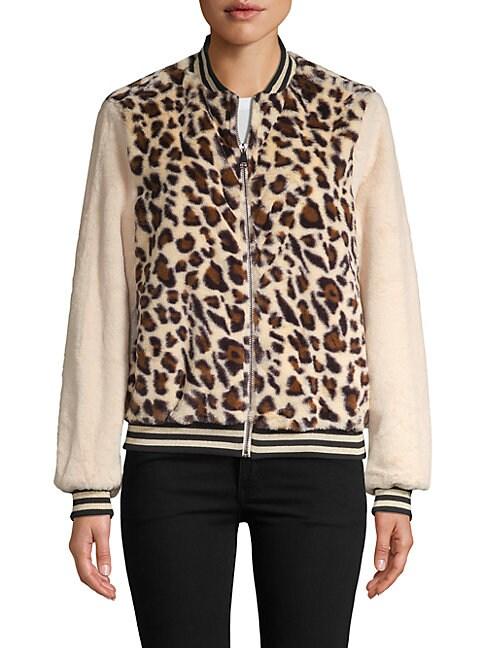 Plush Animal-Print Bomber Jacket
