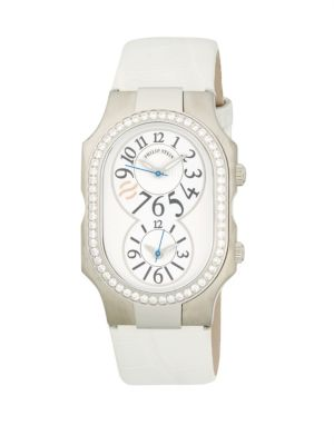 PHILIP STEIN Signature Dual-Time Stainless Steel, Diamond & Leather-Strap Watch in White