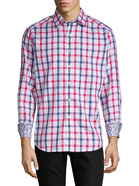 Dadebrook Paisley-Plaid Button-Down Shirt