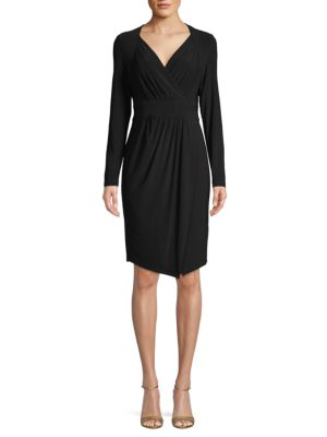 Dkny Long-Sleeve Faux-Wrap Dress