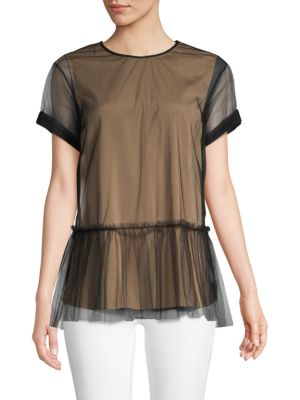 Brunello Cucinelli Shorts Short-Sleeve Ruffled Blouse